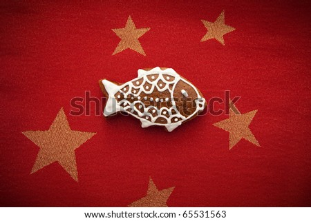 gingerbread with fish symbol for christmas - stock photo
