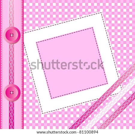 Gingham photo album cover or frame with ribbons and buttons. Scrapbook style. Also available in  vector format. Space for you text or image - stock photo