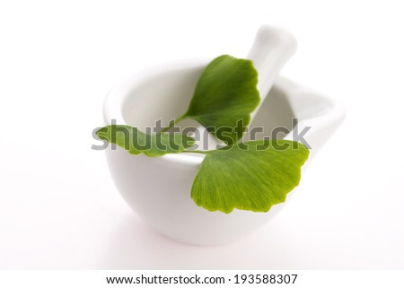 Ginkgo biloba leaves in mortar and pills - stock photo