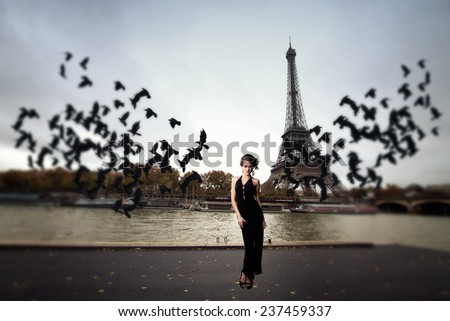 girl and a flock of crows Paris. Architecture of Paris .France. Europe - stock photo
