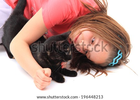 girl and black cat - stock photo