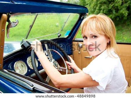 girl and car - stock photo
