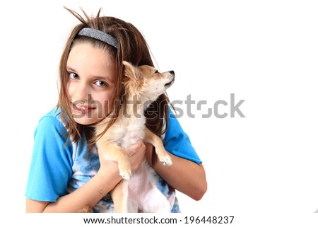 girl and chihuahua - stock photo