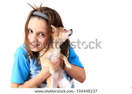 girl and chihuahua - stock photo