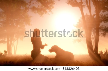 Girl and Dog in the Fog. - stock photo