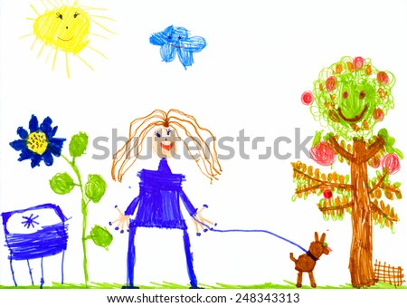 girl and dog walking on meadow. child drawing. - stock photo