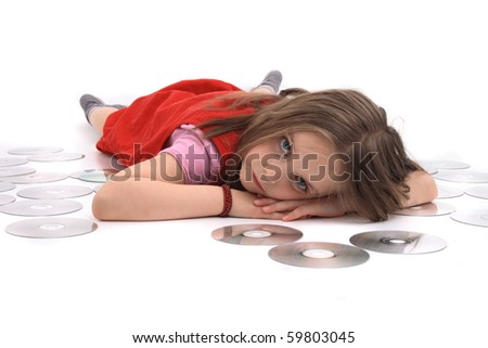 girl and dvd media - stock photo