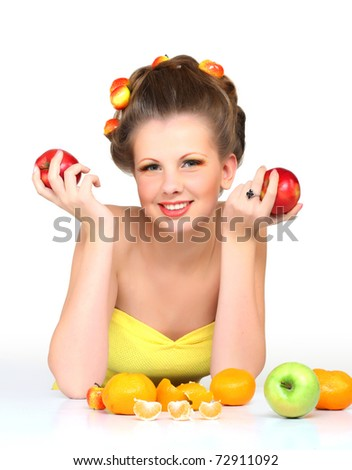 Girl and fruits - stock photo