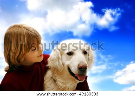 girl and golden retriever dog - stock photo