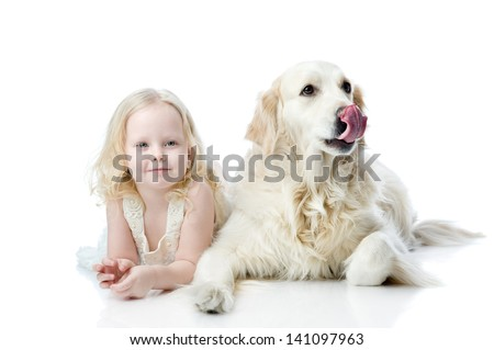 girl and Golden Retriever. looking at camera. isolated on white background - stock photo