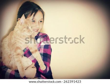 girl and kitten - stock photo