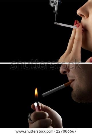 girl and man smokes a cigarette. smoking - stock photo