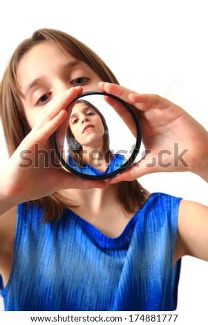 girl and special glass (original portrait) - stock photo