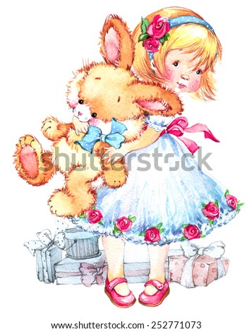 Girl and teddy rabbit. background for birthday card. watercolor - stock photo