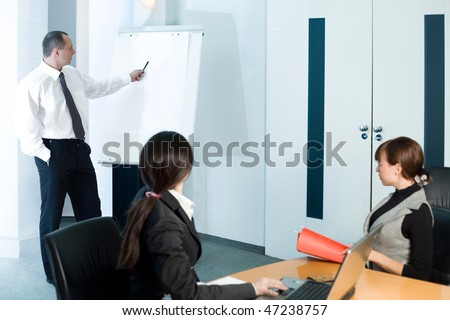 Girl and women with men with pen - stock photo