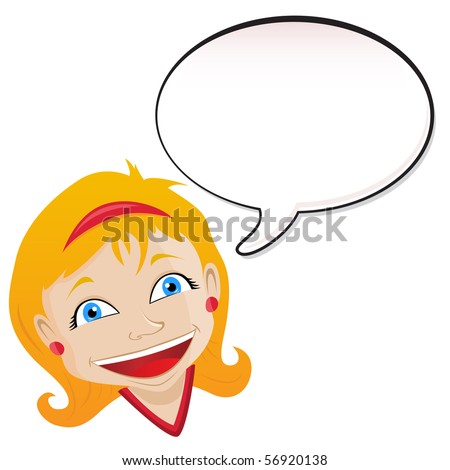 Girl announcement with speech bubble. - stock photo