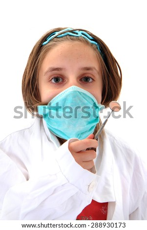 girl as dentist isolated on the white background - stock photo
