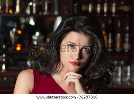 Girl at a Bar - stock photo