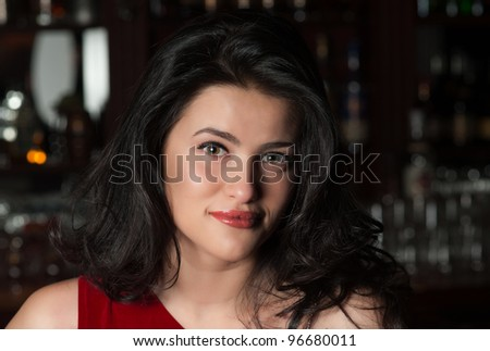Girl at a Bar (portrait) - stock photo
