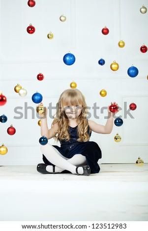 Girl at Christmas time at studio - stock photo