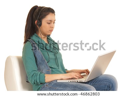 girl at notebook - stock photo