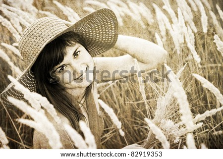 Girl at outdoor. Photo in old image style. - stock photo