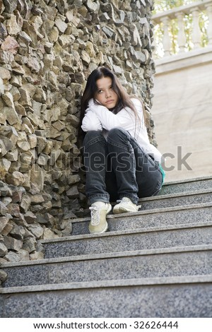 Girl at the city, teens problems - stock photo