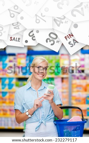 Girl at the market with cosmetics in hands going to buy it on seasonal sale. Concept of consumerism, retail and purchase - stock photo