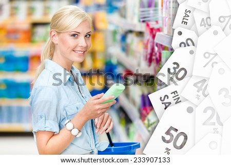 Girl at the shop choosing cosmetics, offer of the day. Concept of consumerism, retail and purchase - stock photo
