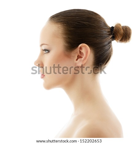 girl beauty, portrait of beautiful young fresh woman in profile, over white background  - stock photo
