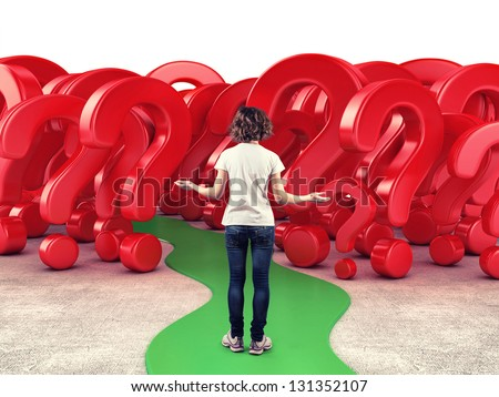 Girl before a red questions in fear of the unknown - stock photo