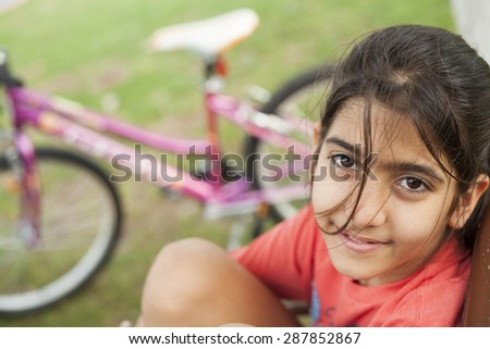 girl bike - stock photo