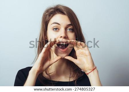 girl calling someone - stock photo