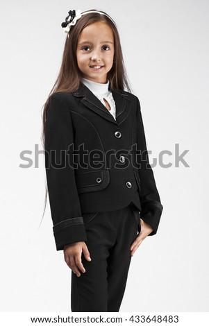 girl catalog school uniform  - stock photo