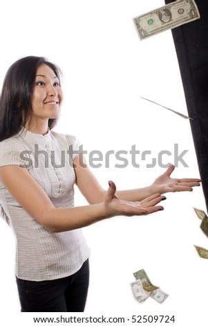 girl catches money - stock photo