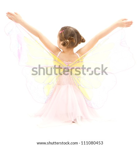 Girl child in kids butterfly ballerina costume. Isolated on white. - stock photo