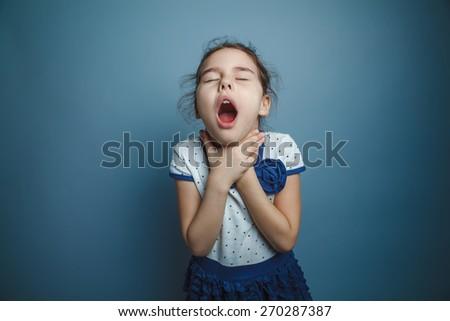 Girl Child Teen seven years, European appearance brunette - stock photo