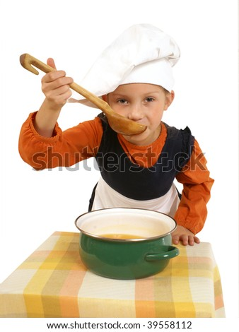 Girl cooking - stock photo