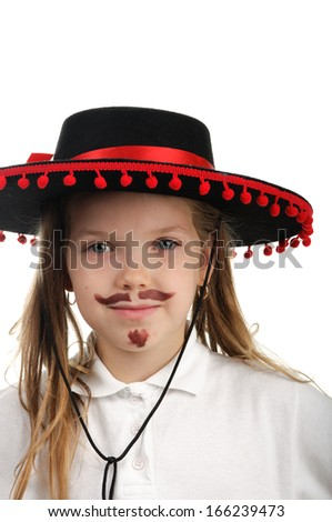 Girl cowboy in a black hat. - stock photo