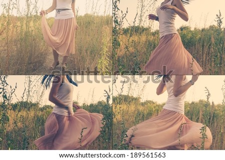 Girl dancing outdoors part of a body waist down - stock photo