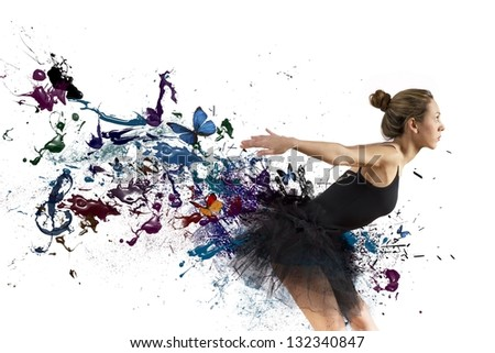 Girl dancing with motion effect on white background - stock photo