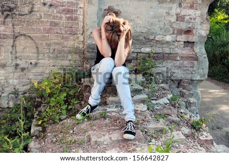 girl depression - stock photo