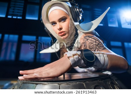 Girl - DJ, in the form of a nun - stock photo