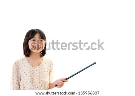 Girl doing a presentation - stock photo