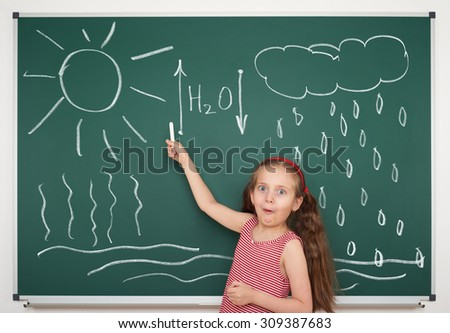 girl draw water circulation scheme on board - stock photo