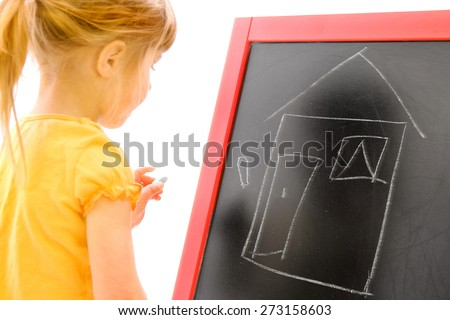 girl draws on a white background - stock photo