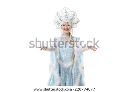girl dressed in traditional russian christmas costume of Snegurochka (Snow Maiden), isolated on white background - stock photo