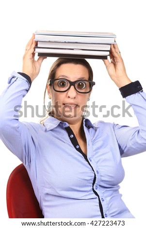 girl dressed like a geek - stock photo