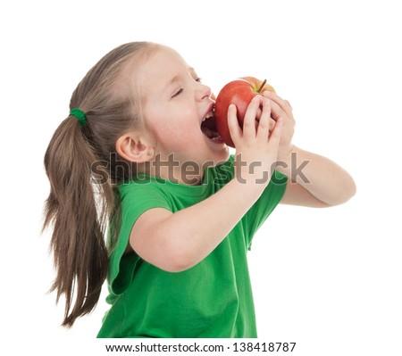 girl eat apple isolated on white - stock photo