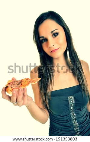 Girl eating a delicious pizza - stock photo